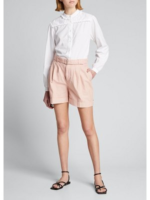 Officine Generale Hannah Button-Down Top with Ruffle Trim