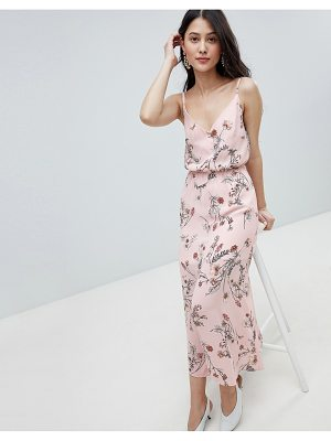OH MY LOVE buttoned cami maxi dress in floral print-pink