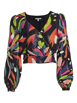 Olivia Rubin kendall sequin puff-sleeve top