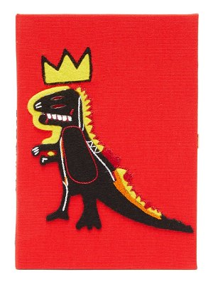 Olympia Le-Tan basquiat-dinosaur embroidered canvas book clutch