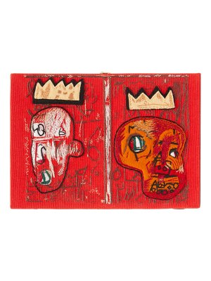 Olympia Le-Tan basquiat 'red kings'-embroidered book clutch