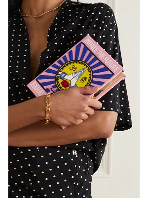 Olympia Le-Tan inhale exhale embroidered appliquéd canvas clutch
