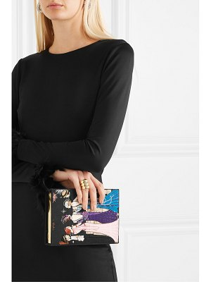 Olympia Le-Tan new year's party 2 appliquéd embroidered canvas clutch