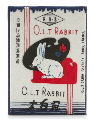 Olympia Le-Tan o.l.t. rabbit appliquéd embroidered canvas clutch
