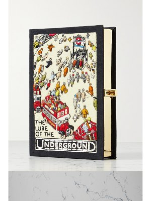 Olympia Le-Tan underground embroidered appliquéd canvas clutch