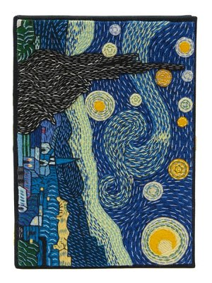 Olympia Le-Tan van gogh starry night embroidered book clutch