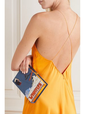 Olympia Le-Tan whistler appliquéd embroidered canvas clutch