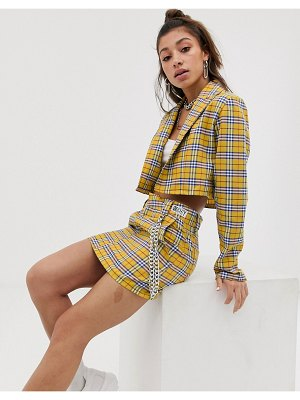 O'Mighty o mighty mini skirt with chain detail in bright check two-piece-yellow