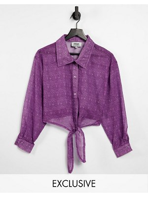 One Above Another 90s sheer shirt in swirl print with tie front-purple
