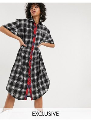 One Above Another 90's shirt dress in mixed grunge check-multi