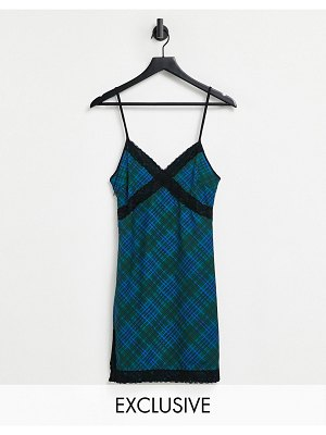 One Above Another cami mini dress in tartan and lace-multi