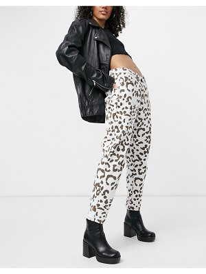 One Above Another coordinating mom jeans in cow print-multi