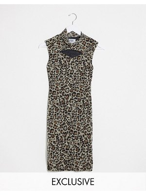 One Above Another high neck bodycon mini dress with cut out in leopard mesh-multi