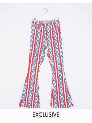 One Above Another high waist flare jeans in usa flag-multi