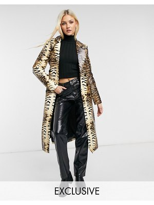 One Above Another longline belted trench jacket in leather-look tiger print-multi