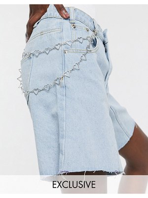 One Above Another longline mom shorts in vintage denim with heart chain-blue