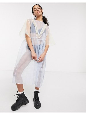 One Above Another midaxi smock dress with ruffles in mixed sheer gingham-yellow
