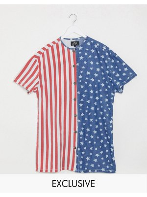 One Above Another oversized shirt dress in usa flag denim-multi