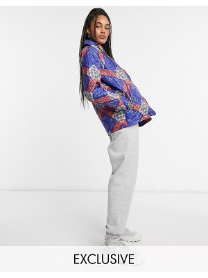 One Above Another relaxed quilted shacket in bandana patchwork-multi