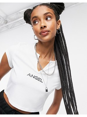 One Above Another ribbed cropped t-shirt with cut out neck & angel graphic-white