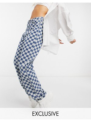 One Above Another straight leg jeans in checkerboard denim-blue