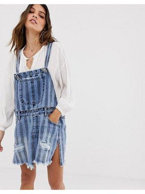 One Teaspoon overall dress in stripe with distressing-blue