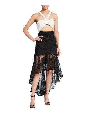 ONE33 SOCIAL Mick Colorblock Eyelet Embroidered Bra Top & Lace Skirt