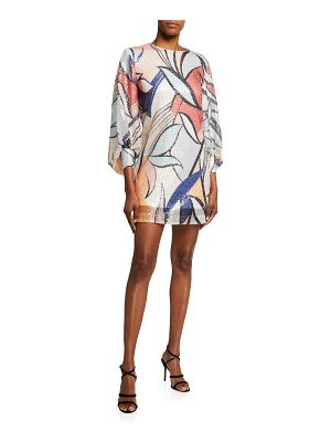 ONE33 SOCIAL Sequin Abstract-Print Full-Sleeve Dress