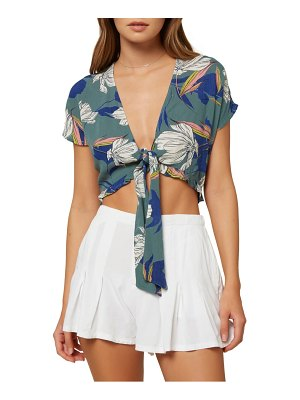 O'Neill oriana floral print tie front crop top