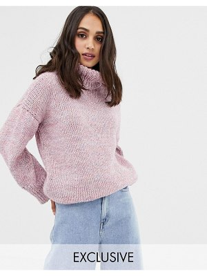 Oneon exclusive hand knitted oversized rainbow sweater-pink