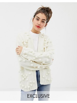 Oneon exclusive hand knitted pom pom cardigan-cream