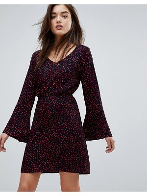 Only Anika Print Flounce Dress with Flared Sleeve
