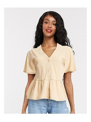 Only blouse with peplum hem in sand-beige