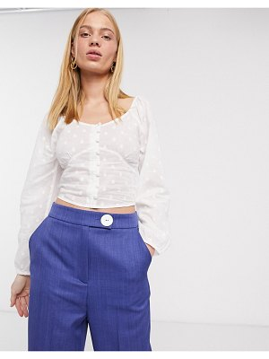 Only blouse with square neck in white