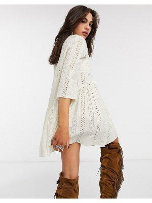 Only broderie smock dress in cream