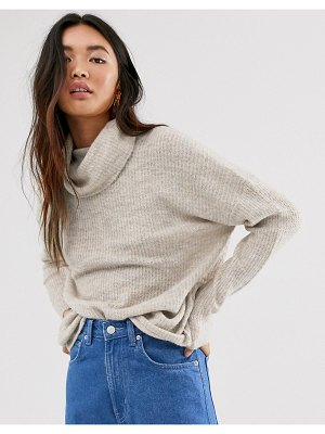 Only brushed knit sweater with roll neck in stone-beige