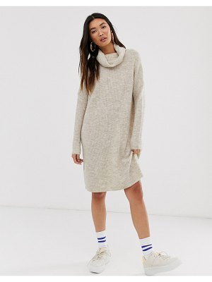 Only brushed knitted longline roll neck mini dress