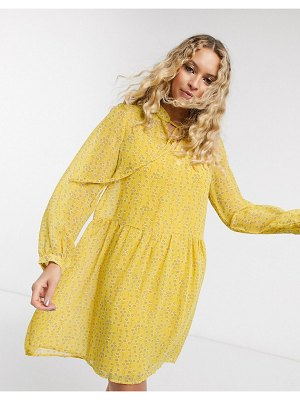 Only chiffon smock dress with neck tie in yellow ditsy floral-multi