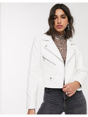 Only faux leather biker jacket in white