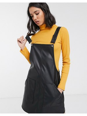 Only faux leather pinafore dress in black