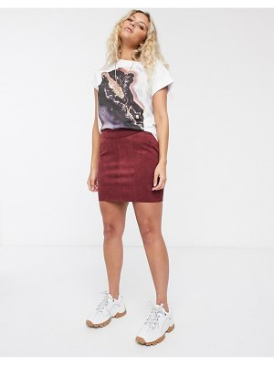 Only faux suede mini skirt in burgundy-red