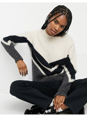 Only high neck sweater in chevron color block-multi