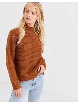 Only highneck rib knitted sweater