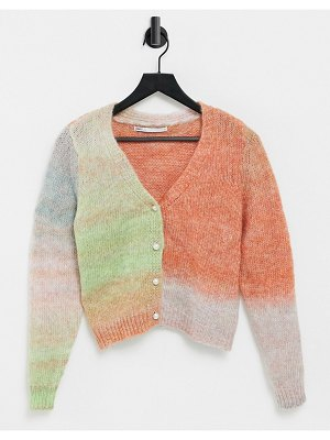 Only knitted cargidan in pink and green ombre-multi