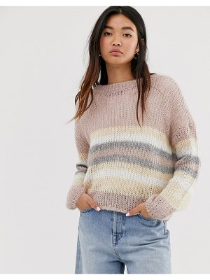 Only knitted sweater in pink stripe