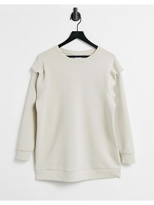 Only long line sweat top with shoulder detail in stone