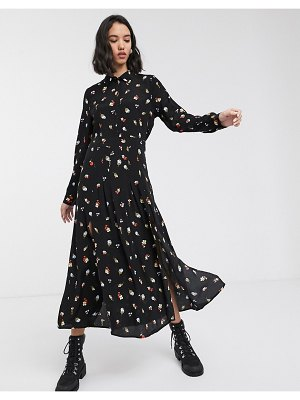 Only maxi shirt dress in black floral-multi