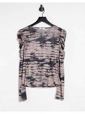 Only mesh top with puff sleeves and high neck in tie dye-multi
