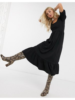 Only midi dress with puff sleeves in black