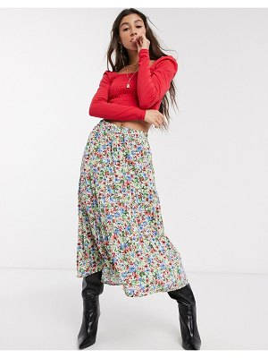 Only midi skirt in floral print-multi